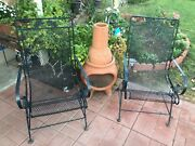 Russell Woodard Sculpture Wire Spring Recliner Patio Chairs Black Pair