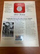 1927 S Walking Liberty Half Dollar And Stamp News Card Lindbergh 1st To Fly Solo