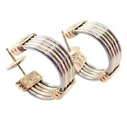 Rare Authentic Stainless Steel 18k Yellow Gold Hoop Earrings