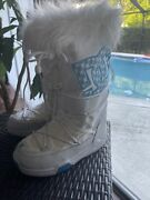 Womenand039s Dc Shoes White Chalet Sparkle Snow Boots Faux Fur Size S - Stains
