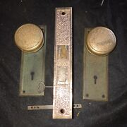 Antique Eastlake Russell And Erwin Damascene Doorknobs And Backplatesmortise Lock