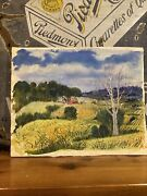 Gorgeous Christine Glasell 1930and039s Signed Watercolor Of Farm Smithsonian Artist