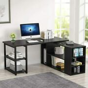 L-shaped Office Table 360anddeg Rotating Designand Space Saving Computer Desk