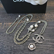Rise-on Silver Plated Cc Logos Flower Rhinestone Necklace Pendant 140c