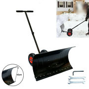 Adjustable Snow Pusher 29 W X 17 H Mobile Snow Shovel With 10 Wheels Black