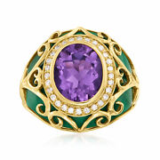 Ross-simons Amethyst And Diamond Scrollwork Ring With Malachite In 14kt Gold