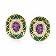 Amethyst And Diamond Scrollwork Earrings With Malachite In 14kt Gold