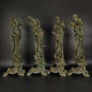 A Set Of 4 Bronze Handcarved Dunhuang Flying Apsaras Dance Beautiful Woman