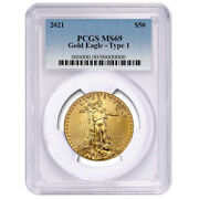 2021 50 Type 1 American Gold Eagle 1 Oz. Pcgs Ms69 Blue Label