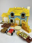 Vintage Fisher Price Little People Play Family House Yellow 952 Lot Stairs Cars