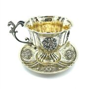 C.1860-1880 French Gilt Silver Chocolate Cup And Saucer1st Standard Minerva Mark