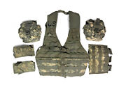 Us Army Acu Molle Fighting Load Carrier Vest W/ Mag And General Purpose Pouches
