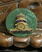 Ww2 Royal Artillery Enamelled Sweetheart Brooch - Green Mother Of Pearl Rare