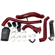 2011-2015 Lml Duramax High Flow Intake Bundle Package V-band Exhaust Wcfab Red T