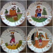 Rare Vintage Bassano Italy Complete Collection Set Four Seasons Hanging Plates