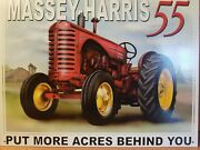 Massey-harris 55 Tractor Put More Acres Behind You Retro Vintage Metal Tin Sign
