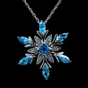Snowflake Pendant Made With Blue And White Crystal S Solid 14k White Gold