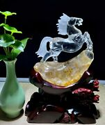 9and039and039 Natural White Rock Crystal Quartz Home Feng Shui Wealth Fortune Horse Statue