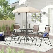 4 Person Dining Set With Umbrella Outdoor Patio Table 4 Chairs Seat Eating Yard