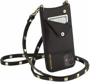 Bandolier Sarah Crossbody Phone And Wallet - Black Leather With Gold