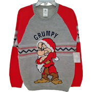 Disney Store Grumpy Christmas Jumper Holiday Ugly Knitted Sweater Novelty Small