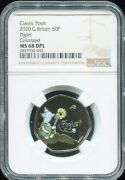 2020 Great Britain 50p - Disneyand039s Classic Winnie Pooh Piglet Ngc Ms69 Color