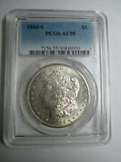 1884-s Morgan Silver Dollar - Pcgs Graded Au 55 Certified - Rare Key Date Coin