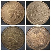 1874 And 1878 Indian Head Pennys Great Dates Cleaned