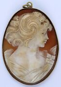 Antique Huge 18k Solid Gold Frame Carved Shell Cameo Side Face Of Lady See Pics