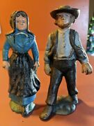 Vintage Amish Cast Iron 5 Man And Woman Figures Hand Painted Old Set