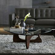 Modern Triangle Glass Coffee Table For Living Room Dark Walnut For Usa