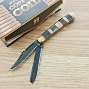 Rough Rider Copper Coil Trapper Pocket Knife Stainless Blade Brown Bone Handle