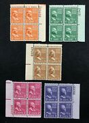 Us Stamps Sc's 803-831  Half Cent - 1 Presidential Series Plate Blocks, Mnh