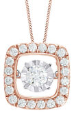 3/4 Ct Natural Dancing Diamond Square Frame Pendant Necklace In 10k Rose Gold