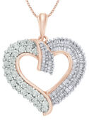 1.00ct Round White Real Diamond Heart Pendant 10k Rose Gold Valentine Gifts
