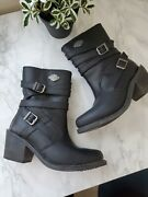 Harley-davidson Heights Leather Motorcycle Riding Boots Womens 7.5 D87118