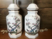 2 Vintage Asian Chinoiserie 8 Sided Ceramic Ginger Jar Table Lamps Floral Birds