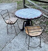 Vintage Atelier Loft Heavy Cast And Wrought Iron Round Pub Bistro Table And 2 Chairs