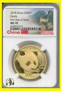 2018 China Gold Panda 500 Y Coin Ngc Ms 70 First Day Issue Wall Label Panda Logo