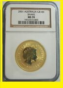 2001 Chinese Lunar Year Of The Snake Ngc Ms 70 Australia 1 Oz 9999 Gold