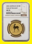 2003 Chinese Lunar Year Of The Goat Ngc Ms 70 Australia 1 Oz 9999 Gold