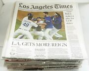 2020 La Dodgers Playoffs La Times Championship Run Newspapers Lot Every Game