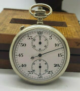 Rare Antique Split Second White Metal Pocket Watch