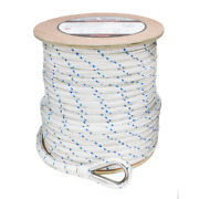 Boattector 3/4 In. X 300 Ft. Double Braid Nylon Anchor Line Thimble White Blue T