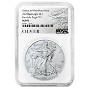 2021 W 1 Type 1 American Silver Eagle Ngc Ms69 Als Label