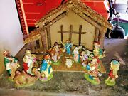 Large Vintage Italian Nativity Scene Stable With 14 Figures Italy
