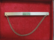 Vintage Hg Ands 9ct Gold Front And Back Etched Finish Thin Tie Bar Clasp Chain Ck 37