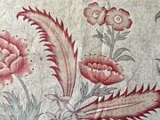 Antique French Indienne Floral Cotton Fabric Apricot Red Sage Green Patina