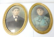 Antique Pair Of Oval Bubble Glass Gold Picture Frames W/ Portraits Free Ship