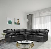 Black Motion Sofa Sectional Living Room Furniture Reclining Manual Cup Holder